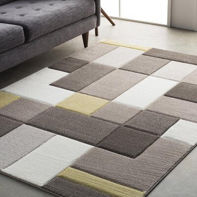 Mott Street Modern Geometric Carved Brown/Yellow Area Rug Rug Size: 27 x 76