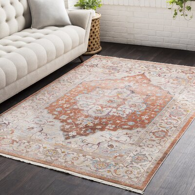 Springboro Vintage Persian Traditional Orange/Beige Area Rug Rug Size: 710 x 103