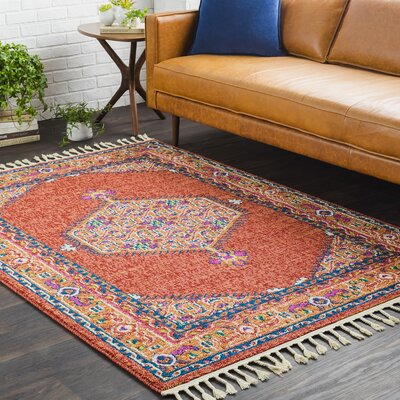 Kaliska Boho Persian Tassel Orange Area Rug Rug Size: 2 x 3