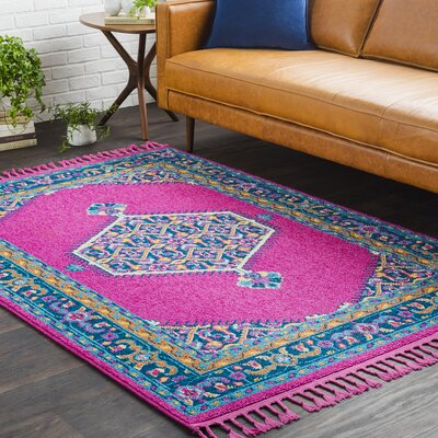 Kaliska Boho Medallion Tassel Pink/Blue Area Rug Rug Size: Rectangle 5 x 73