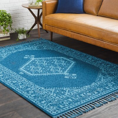 Kaliska Boho Medallion Tassel Teal Area Rug Rug Size: Rectangle 93 x 121