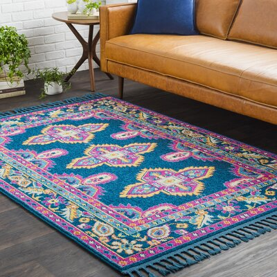 Kaliska Boho Medallion Tassel Blue/Pink Area Rug Rug Size: Rectangle 93 x 121