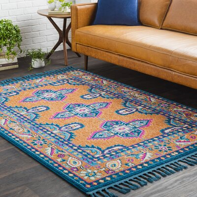 Kaliska Boho Medallion Tassel Orange/Teal Area Rug Rug Size: 27 x 73