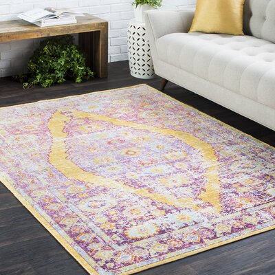 Kahina Traditional Vintage Distressed Oriental Rectangle Neutral Pink/Orange Area Rug Rug Size: Rectangle 53 x 73