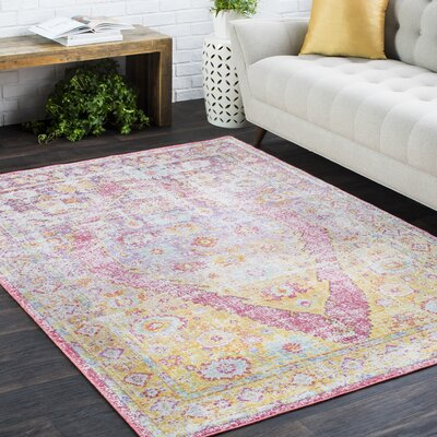 Kahina Traditional Vintage Distressed Oriental Rectangle Pink/Orange Area Rug Rug Size: 53 x 73