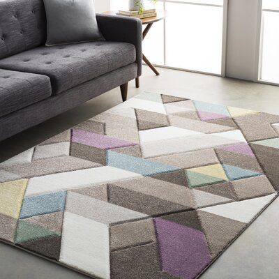 Mott Street Modern Geometric Carved Gray/Purple Area Rug Rug Size: 53 x 76