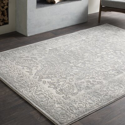 Thissell Vintage Persian Medallion Gray Area Rug Rug Size: Rectangle 27 x 76