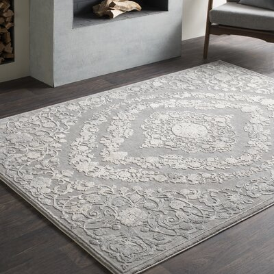 Thissell Vintage Persian Medallion Gray Area Rug Rug Size: Rectangle 93 x 123