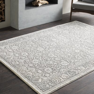 Rushford Vintage Persian Distressed Gray Area Rug Rug Size: 93 x 123