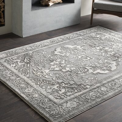 Thissell Vintage Persian Medallion Gray Area Rug Rug Size: Rectangle 67 x 96