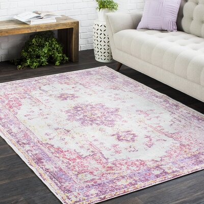 Kahina Vintage Distressed Oriental Pink Area Rug Rug Size: Rectangle 9 x 13