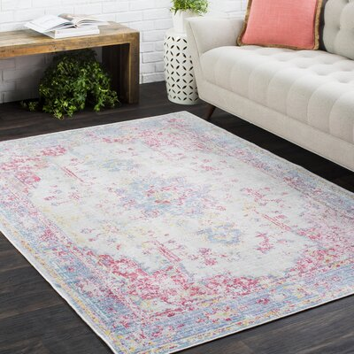 Kahina Vintage Distressed Oriental Rectangle Pink/Blue Area Rug Rug Size: Rectangle 9 x 13