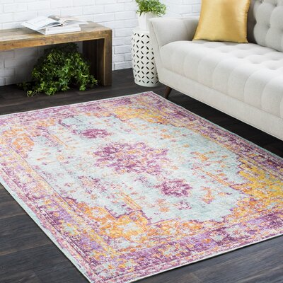 Kahina Vintage Distressed Oriental Purple/Orange Area Rug Rug Size: 53 x 73