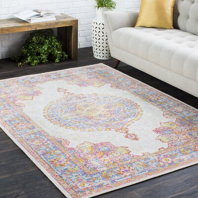 Kahina Traditional Vintage Distressed Oriental Pink Area Rug Rug Size: Rectangle 5'3