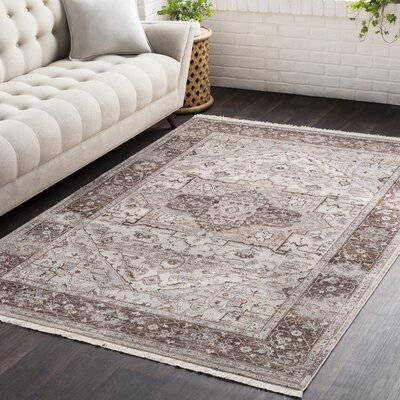 Springboro Vintage Persian Traditional Brown/Cream Area Rug Rug Size: 5 x 79