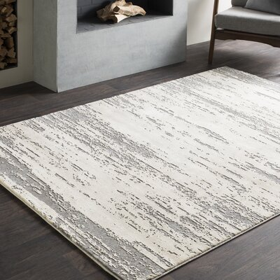 Brooks Distressed Modern Abstract Gray/Cream Area Rug Rug Size: Rectangle 2' x 3'