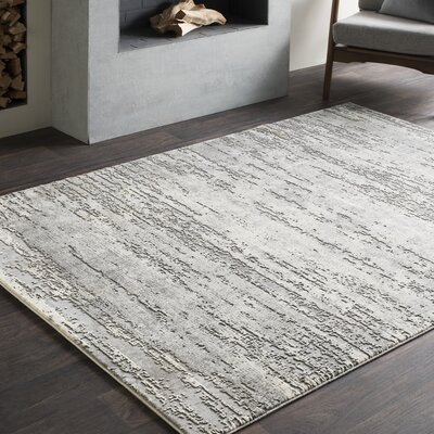 Brooks Distressed Modern Abstract Gray/Cream Area Rug Rug Size: 710 x 103