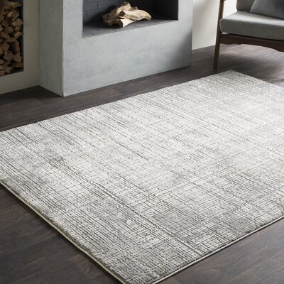 Brooks Distressed Modern Abstract Gray/Cream Area Rug Rug Size: Runner 27 x 76