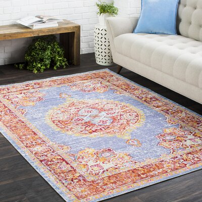 Benedict Vintage Distressed Oriental Blue/Red Area Rug Rug Size: 2 x 3