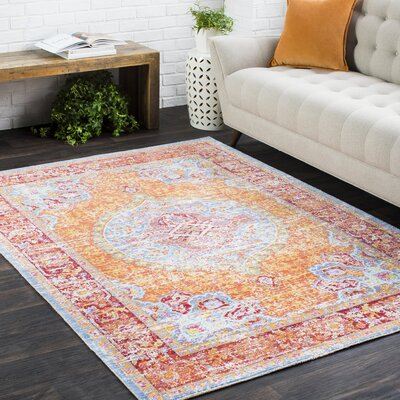 Kahina Vintage Distressed Oriental Saffron/Red Area Rug Rug Size: Rectangle 3'11