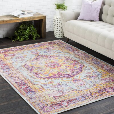 Kahina Vintage Distressed Oriental Rectangle Pink/Orange Area Rug Rug Size: Rectangle 53 x 73