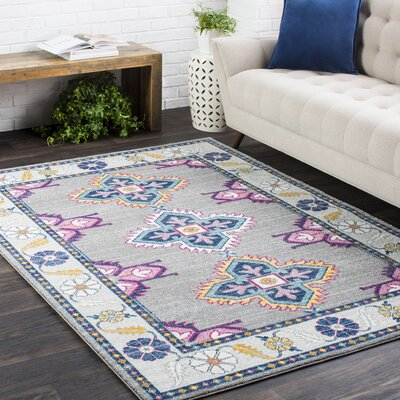 Downs Persian Inspired Gray/Blue Area Rug Rug Size: 53 x 73