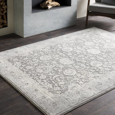 Rushford Vintage Persian Distressed Gray Area Rug Rug Size: 53 x 76