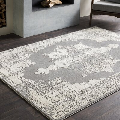 Rushford Distressed Persian Medallion Gray Area Rug Rug Size: 53 x 76