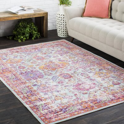 Kahina Vintage Distressed Oriental Rectangle Neutral Pink Area Rug Rug Size: Rectangle 53 x 73
