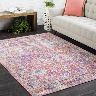 Kahina Vintage Distressed Oriental Neutral Pink Area Rug Rug Size: Rectangle 53 x 73