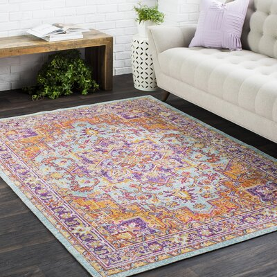 Kahina Vintage Distressed Oriental Rectangle Purple/Orange Area Rug Rug Size: Rectangle 9 x 13