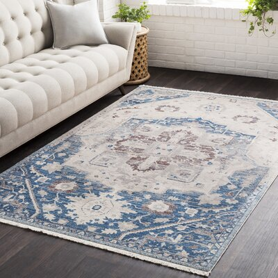 Mendelsohn Vintage Persian Traditional Blue/Cream Area Rug Rug Size: Runner 27 x 9