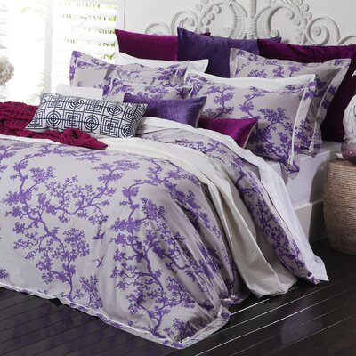Crane 3 Piece Reversible Duvet Set Color: Violet/Light Gray, Size: Full/Queen