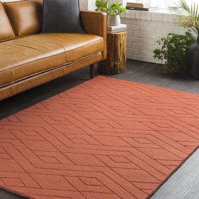 Julian Hand-Woven Burnt Orange Area Rug Rug Size: Rectangle 5 x 76