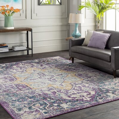 Fonteyne Floral Purple/Teal Area Rug Rug Size: Rectangle 53 x 76