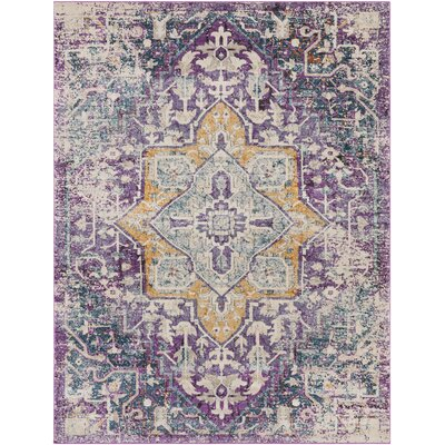 Fonteyne Floral Purple/Teal Area Rug Rug Size: Rectangle 7'10