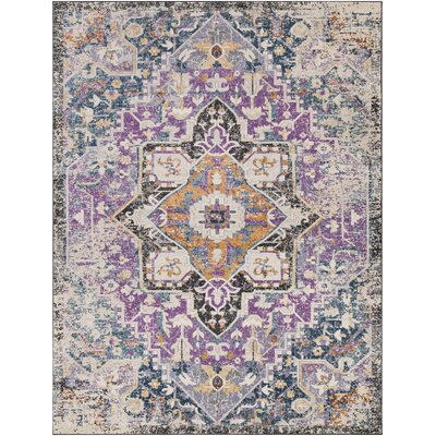 Fonteyne Purple/Teal Area Rug Rug Size: Rectangle 2' x 3'