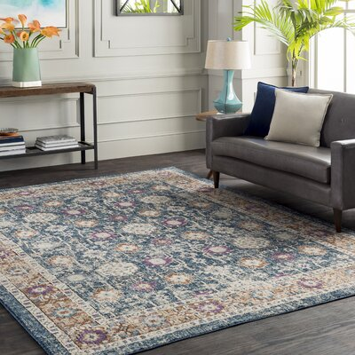 Fonteyne Floral Blue/Tan Area Rug Rug Size: Rectangle 53 x 76