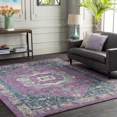 Fonteyne Purple/Blue Area Rug Rug Size: 2 x 3