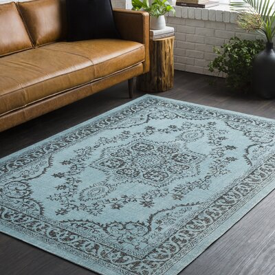 Randhir Teal/Brown Area Rug Rug Size: Rectangle 53 x 76