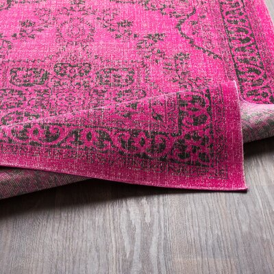 Randhir Floral Pink Area Rug Rug Size: Rectangle 53 x 76
