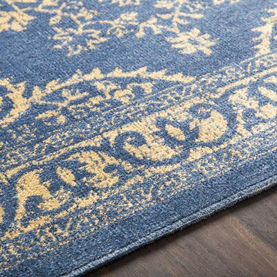 Randhir Floral Blue/Tan Area Rug Rug Size: Rectangle 710 x 103