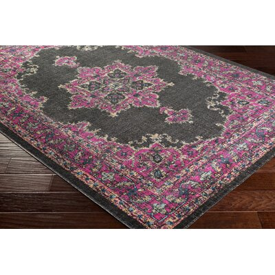 Randhir Floral Brown/Pink Area Rug Rug Size: Rectangle 53 x 76