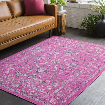 Randhir Pink Area Rug Rug Size: Rectangle 53 x 76