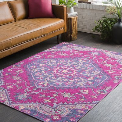 Randhir Pink/Purple Area Rug Rug Size: Rectangle 53 x 76