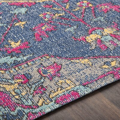 Randhir Navy/Gray/Pink Area Rug Rug Size: Rectangle 53 x 76