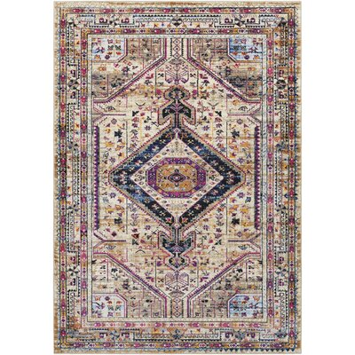 Walferdange Bright Pink/Camel Area Rug Rug Size: Rectangle 5 x 73