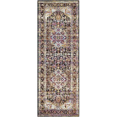 Walferdange Transitional Bright Pink/Blue/Yellow Area Rug Rug Size: 93 x 121