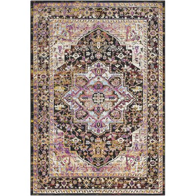 Walferdange Transitional Bright Pink/Black Area Rug Rug Size: Rectangle 93 x 121