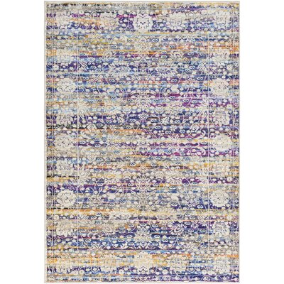 Walferdange Floral Sky Blue/Cream Area Rug Rug Size: Rectangle 5 x 73